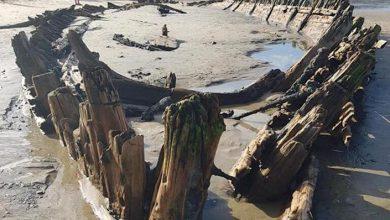 Photo of Una tormenta dejó al descubierto un impresionante barco del siglo XIX escondido en la arena